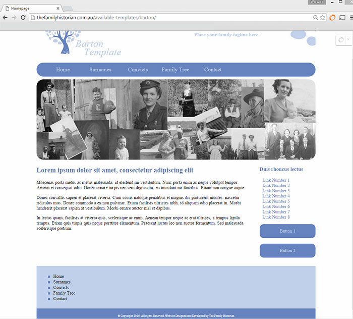 Barton Family History Website Template