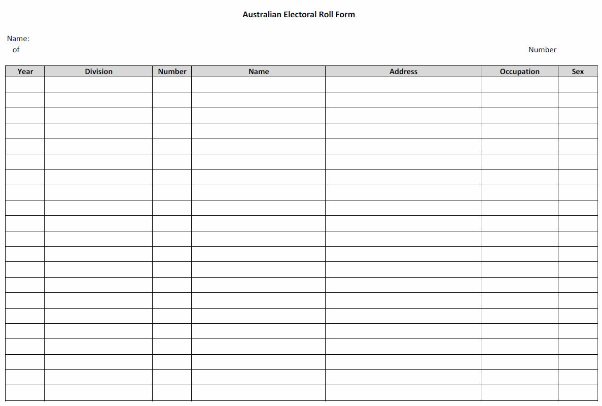 Worksheets Genealogy Worksheet free fillable genealogy forms an australian family history electoral information form